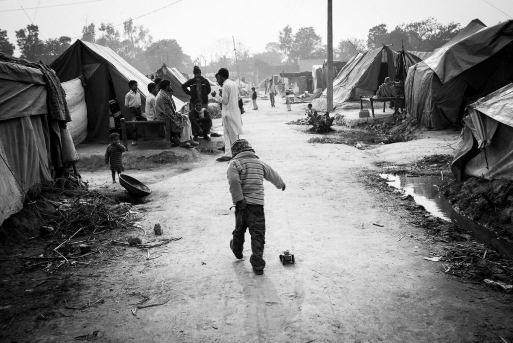 Children at refugee camp, Muzaffarnagar. December 2013.