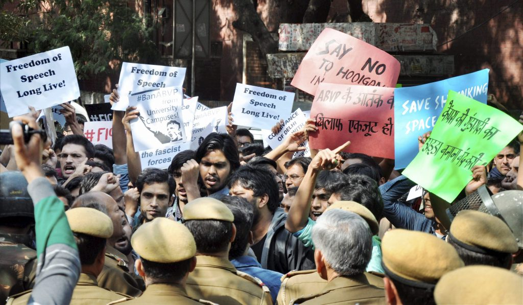 New Delhi: AISA students protesting against ABVP activists in New Delhi on Wednesday. PTI Photo(PTI2_22_2017_000201A)
