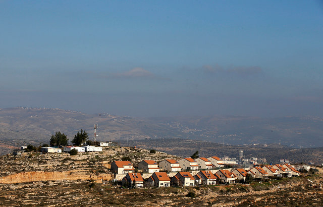 A general view picture shows home in the Israeli outpost of Palgey Maim, in the occupied West Bank