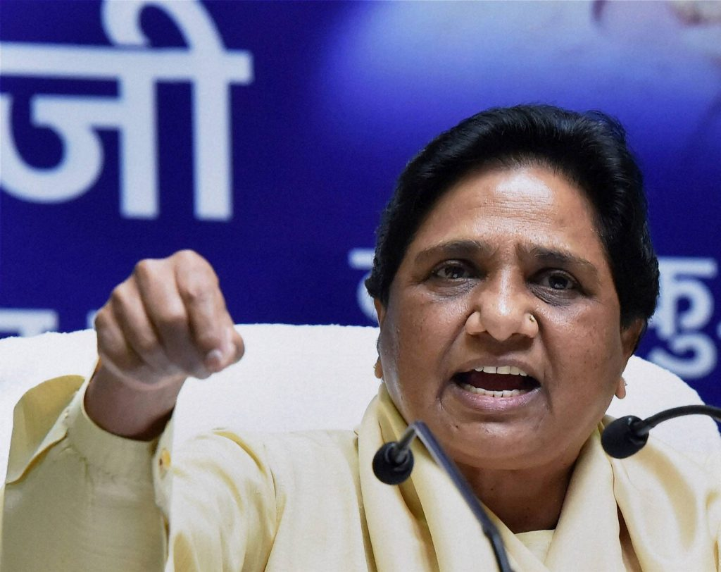 Lucknow : BSP supremo Mayawati addresses a press conference at the party office in Lucknow on Sunday. PTI Photo by Nand Kumar  (PTI7_24_2016_000123B)