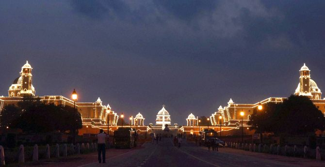 New Delhi : The Rashtrapati Bhavan is lit as the country celebrates its 70th Independence Day in New Delhi on Monday. PTI Photo by Shirish Shete(PTI8_15_2016_000456B)
