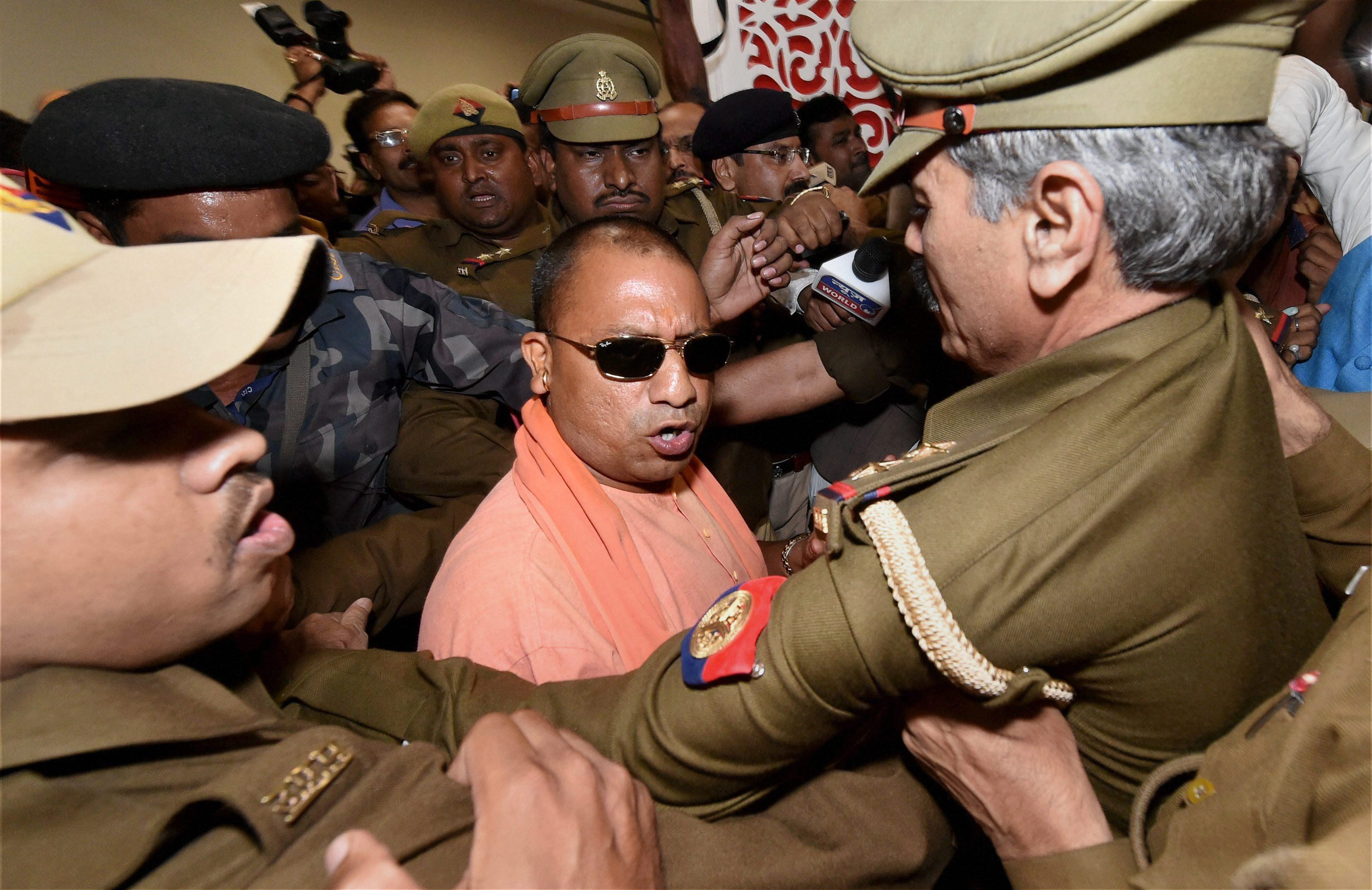 Lucknow: Yogi Adityanath arrives to attend BJP's legislature party meeting in Lucknow on Saturday.PTI Photo by Nand Kuma(PTI3_18_2017_000190B)