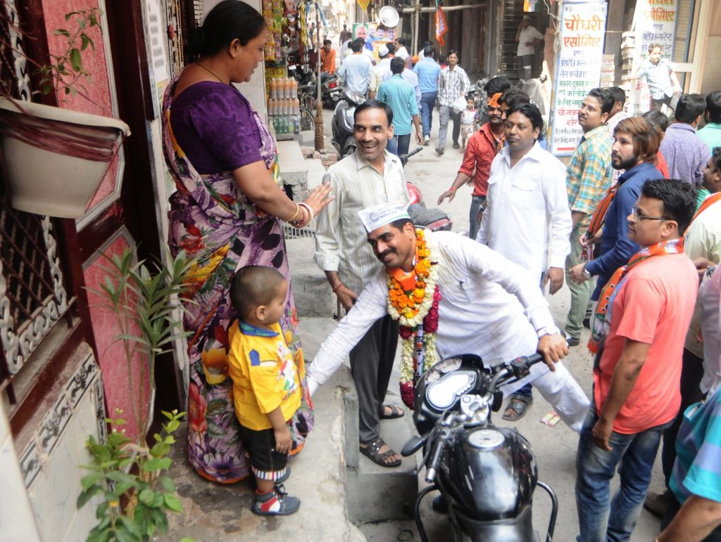 NCP Candidate for MCD election Rahul Singh during a door to door campaign at Vinod Nagar in East Delhi , he is suuported by BJP party as thier canddates nomination from this ward were allegedly rejected by the state election commission during a scrutiny of documents in New Delhi on Sunday