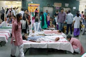 New Delhi: School students being treated at a hospital  in New Delhi on Saturday. Nearly 200 girls were hospitalised after they complained of irritation in eyes due to gas leakage from a container depot near their school in southeast Delhi's Tughlakabad area. PTI Photo (PTI5_6_2017_000025B)
