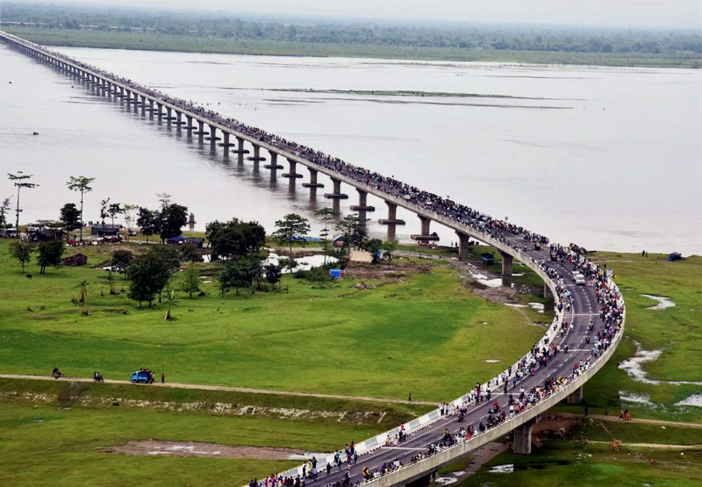 Sadia: An aerial view of the newly inaugurated Dhola-Sadia bridge across River Brahmaputra in Assam on Friday. PTI Photo (PTI5_26_2017_000125A)