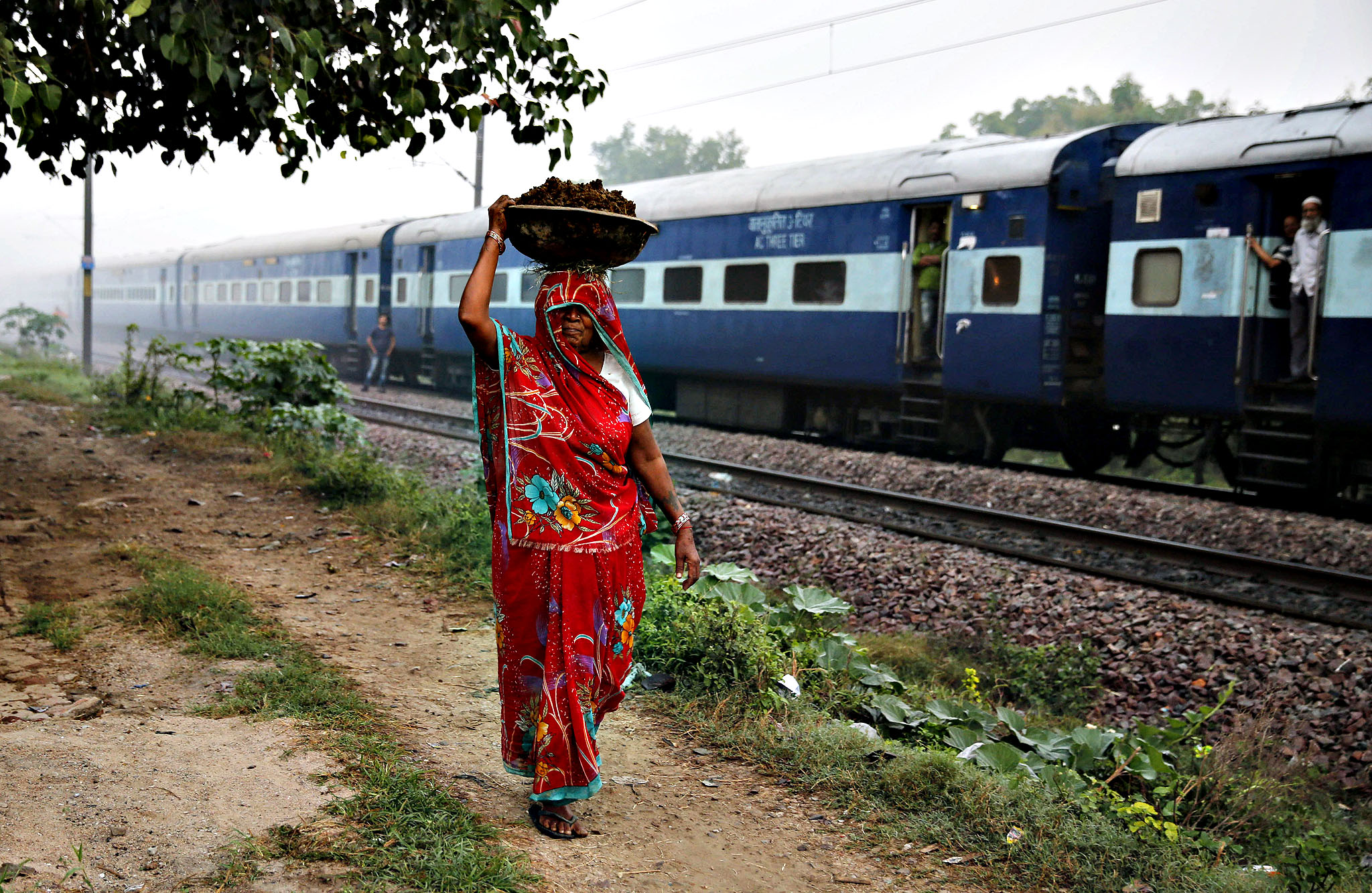 An Indian woman carries cow dung to prepare cow dung cake on the outskirts of Allahabad, India, Wednesday, Oct. 22, 2014. Cow dung cakes are popularly used as fuel for cooking in rural India. (AP Photo/Rajesh Kumar Singh)