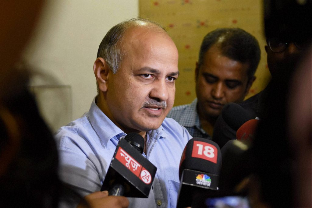 New Delhi: Delhi Deputy Chief Minister Manish Sisodia talks to the media after attending the First Meeting of the GST Council in New Delhi on Friday. PTI Photo by Subhav Shukla (PTI9_23_2016_000115B) *** Local Caption ***