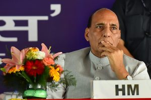 """New Delhi: Home Minister Rajnath Singh during the inauguration of two mobile applications """"MHA Grievances Redressal App"""" & """"BSFMyApp"""" at a function in New Delhi on Thursday. PTI Photo by Kamal Singh(PTI5_11_2017_000193B)"""
