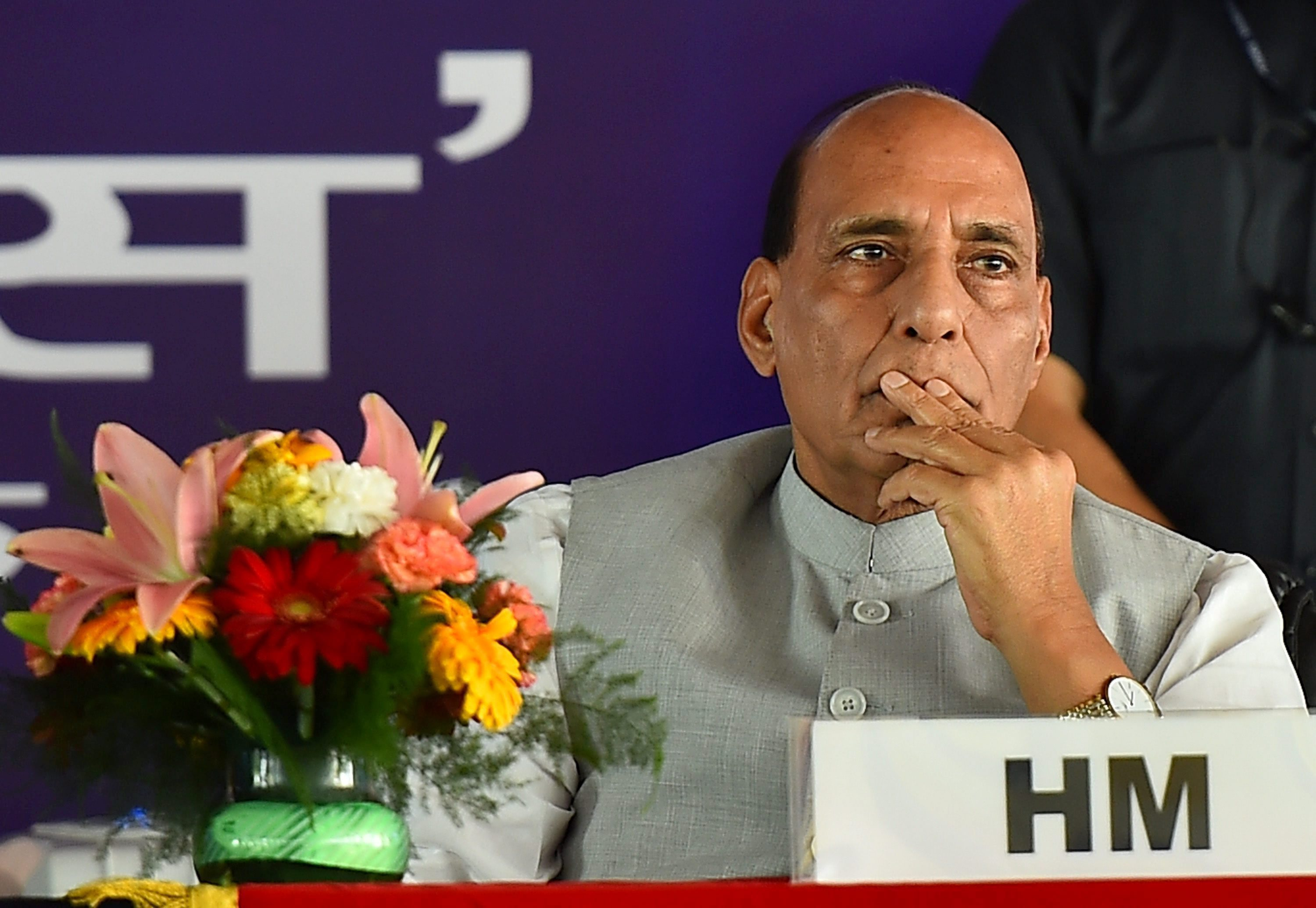 "New Delhi: Home Minister Rajnath Singh during the inauguration of two mobile applications ""MHA Grievances Redressal App"" & ""BSFMyApp"" at a function in New Delhi on Thursday. PTI Photo by Kamal Singh(PTI5_11_2017_000193B)"
