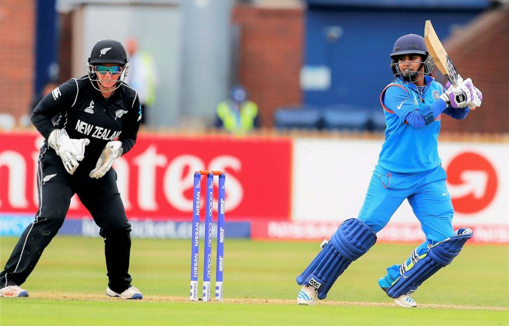 Derby : India's Mithali Raj plays a shot against New Zealand during the ICC Women's World Cup match in Derby on Saturday. PTI Photo (PTI7_15_2017_000120B) *** Local Caption ***