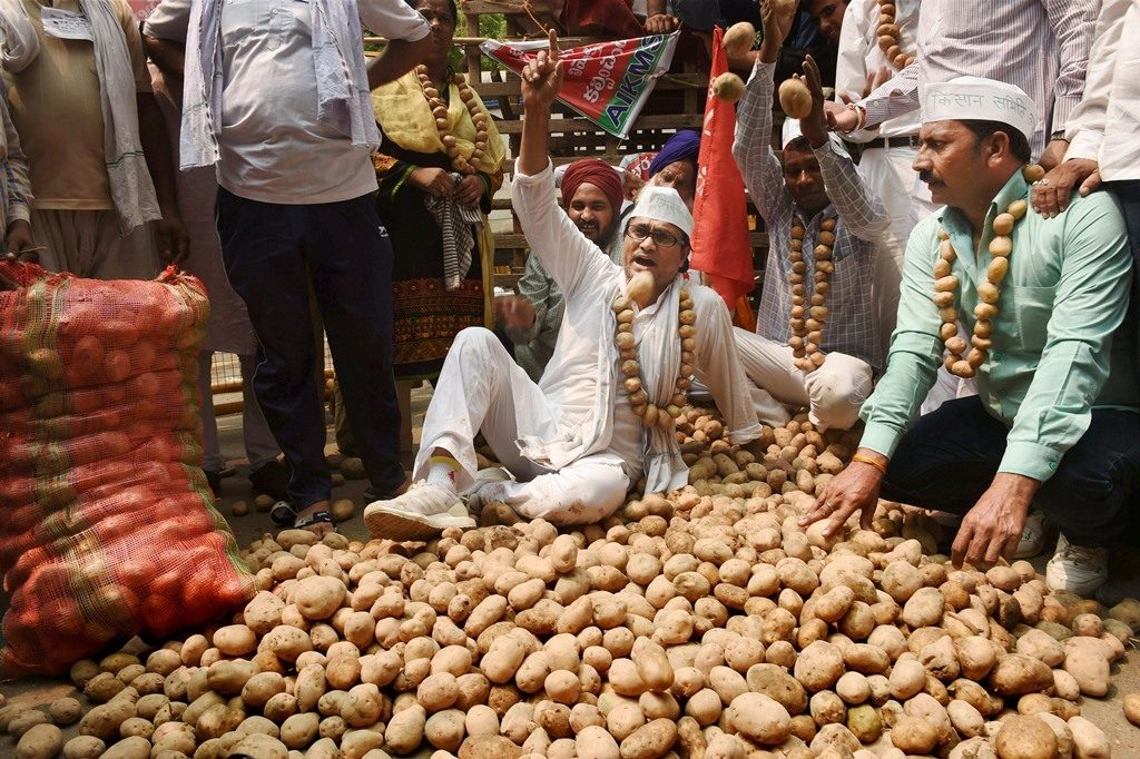 RPT...New Delhi: Potato farmers from UP throwing the vegetable on the road at a protest for increase in the minimum support price during 'Kisan Mukti Sansad' at Jantar Mantar, in New Delhi on Wednesday. PTI Photo by Subhav Shukla (PTI7_19_2017_000067B)