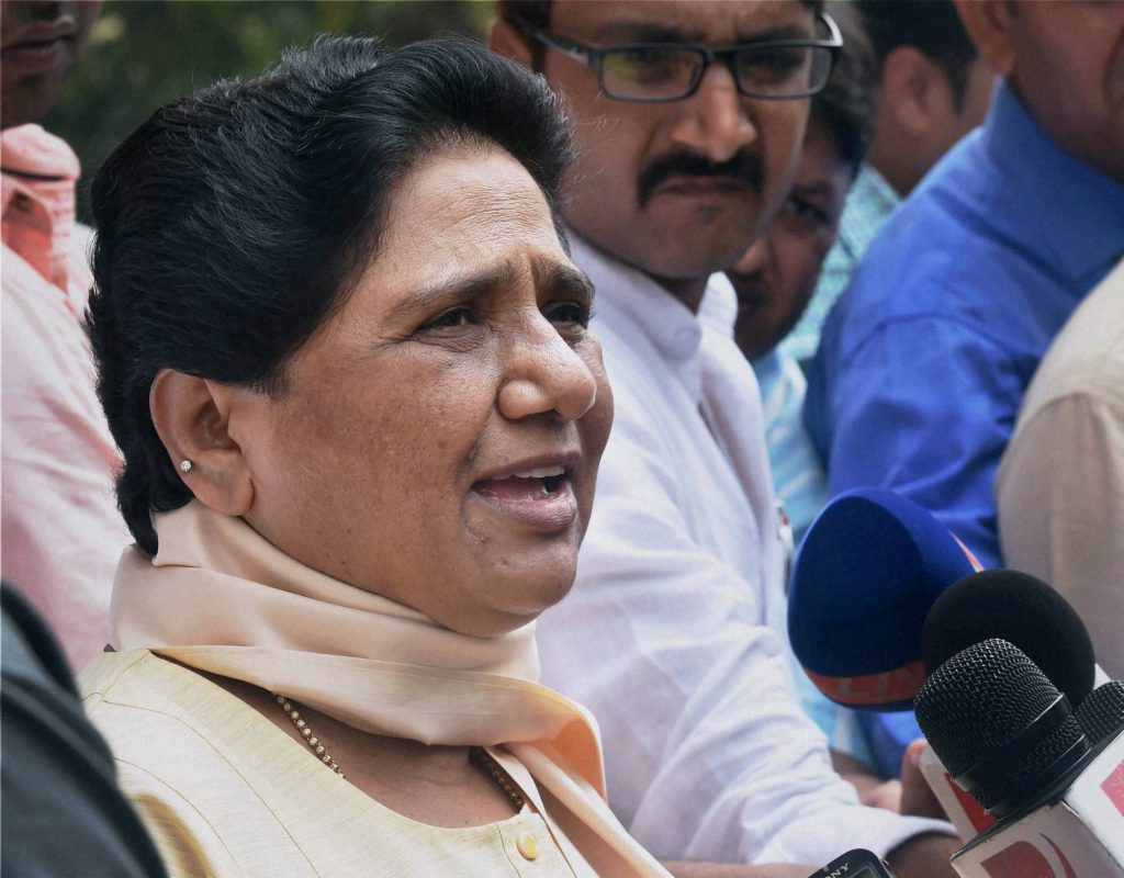 New Delhi: BSP supremo Mayawati interacts with the media at Parliament house on the first day of the monsoon session in New Delhi on Tuesday. PTI Photo by Kamal Singh (PTI7_21_2015_000064B)