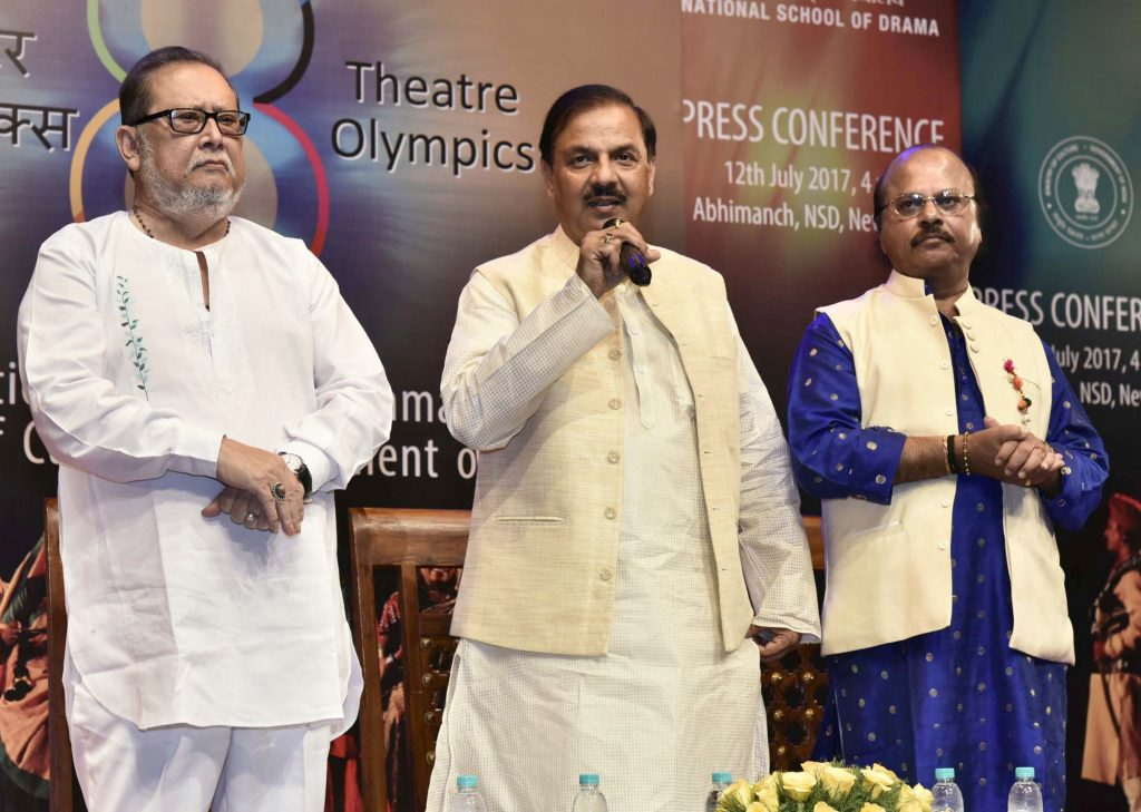 """The Minister of State for Culture and Tourism (Independent Charge), Dr. Mahesh Sharma addressing the media to announce the """"8th Theatre Olympics 2018 in India"""", in New Delhi on July 12, 2017."""