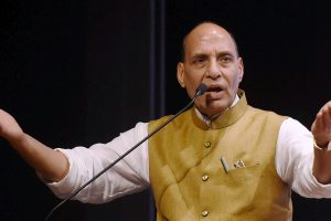 Mumbai: Union Home Minister Rajnath Singh addresses during celebration of three years completion of Maharashtra government in Mumbai on Thursday. PTI Photo by Shashank Parade(PTI6_8_2017_000229A)
