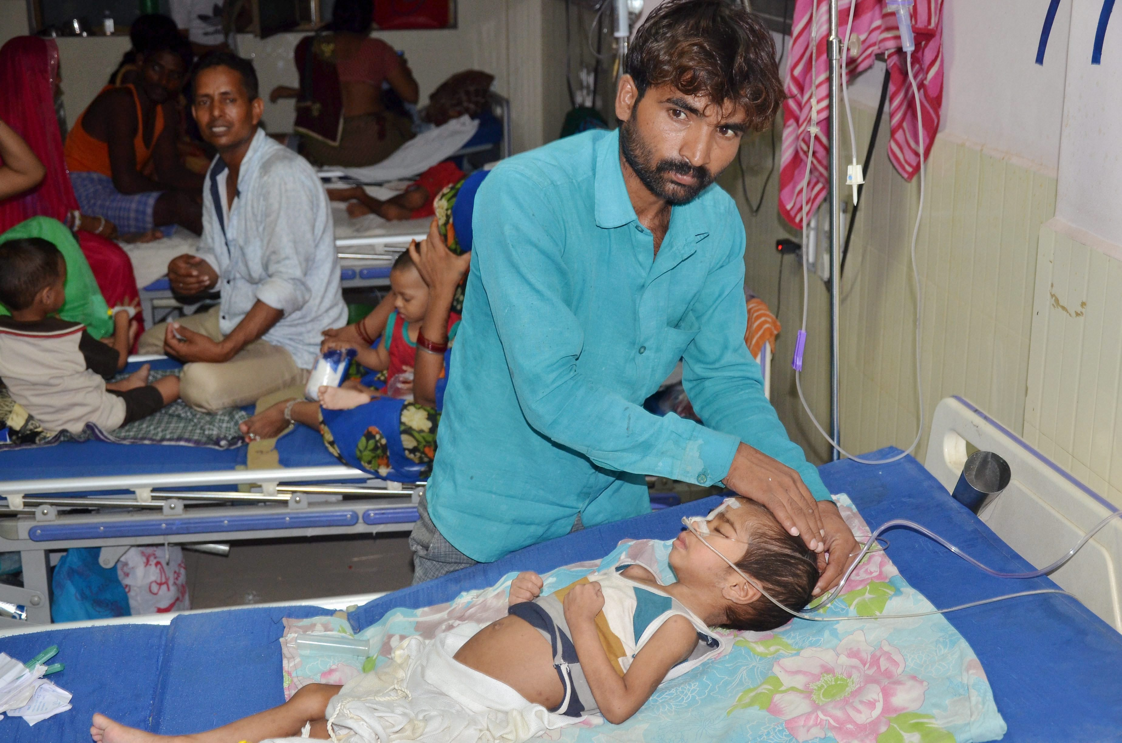 Gorakhpur : An inside view of a ward of BRD Hospital in Gorakhpur on Friday where at least 30 children died since the past two days, allegedly due to oxygen supply cut on Friday. PTI Photo (PTI8_11_2017_000220B)