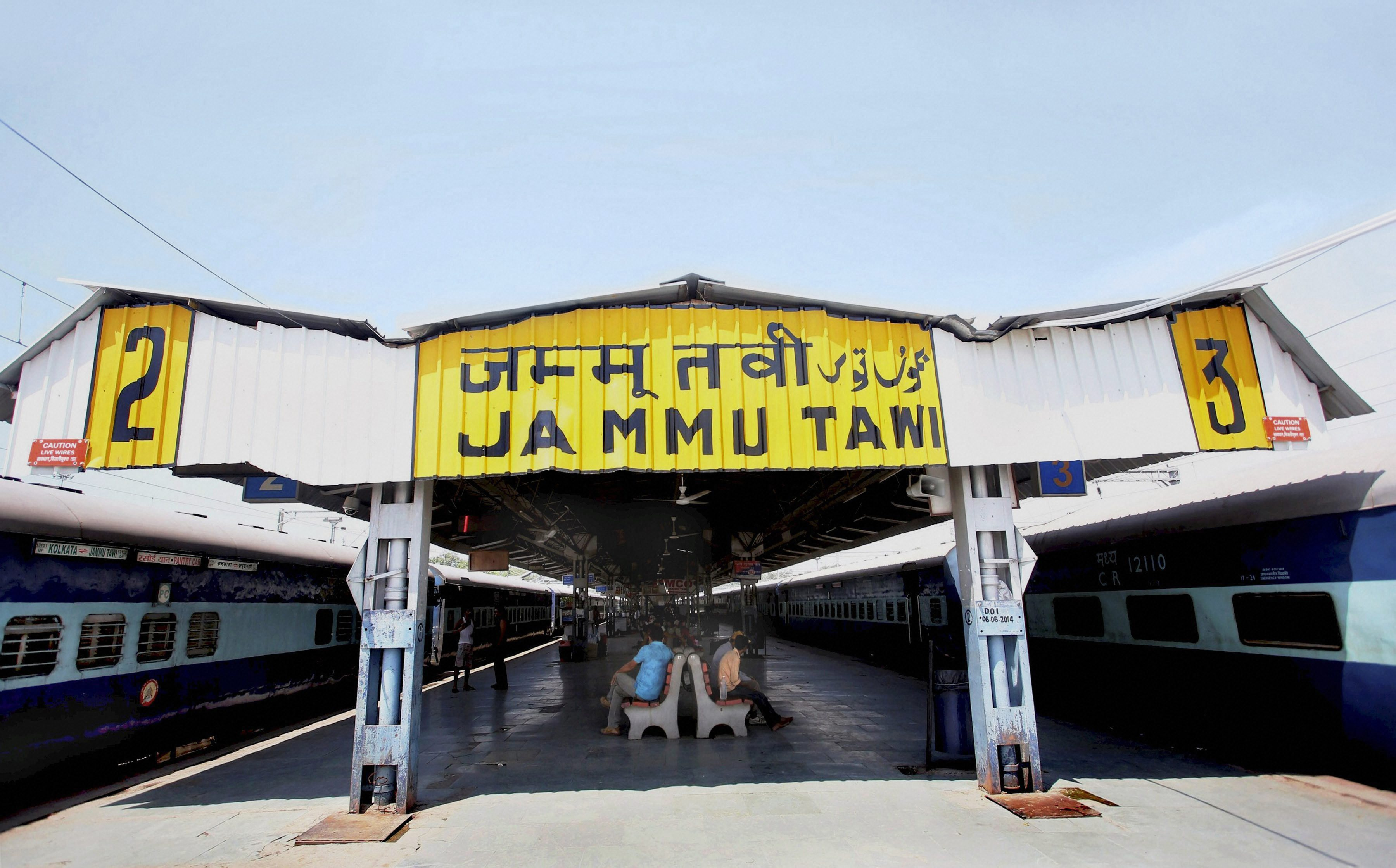 Jammu: Jammu railway station wears a deserted look as operations of many trains were halted after receiving a formal request from the Punjab and Haryana governments in view of the verdict in a case against Dera Sacha Sauda chief Gurmeet Ram Rahim on Friday. PTI Photo(PTI8_25_2017_000063A)