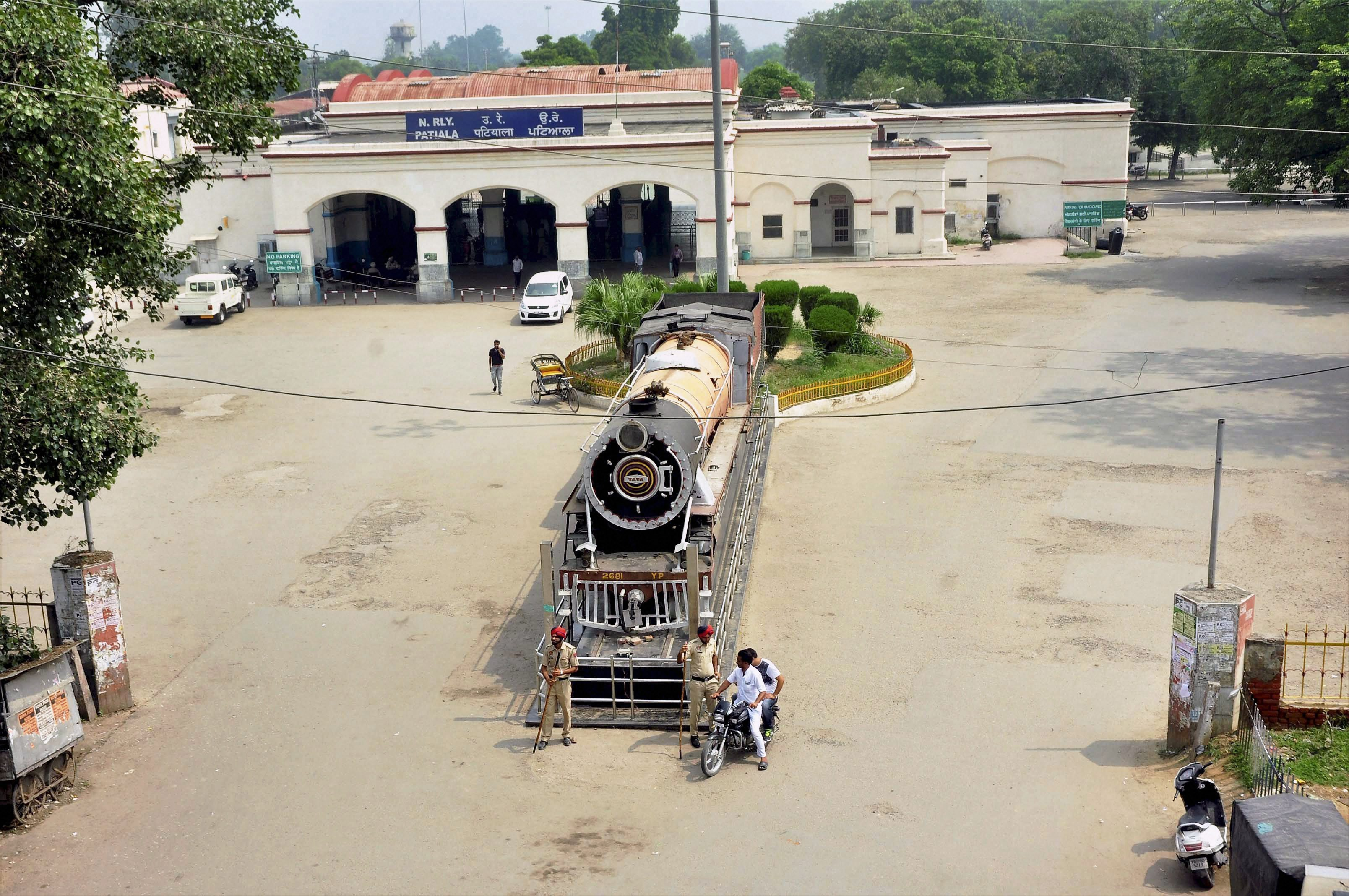 Patiala: Patiala railway station wears a deserted look on Friday as several trains were cancelled due to apprehensions of unrest in view of a verdict in a case against Dera Sacha Sauda chief Gurmeet Ram Rahim Singh. PTI Photo(PTI8_25_2017_000073A)