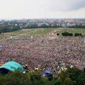 Patna: Aerial view of RJD's rally 'BJP Bhagao, Desh Bachao' at Gandhi Maidan in Patna on Sunday. PTI Photo(PTI8_27_2017_000077B) *** Local Caption ***