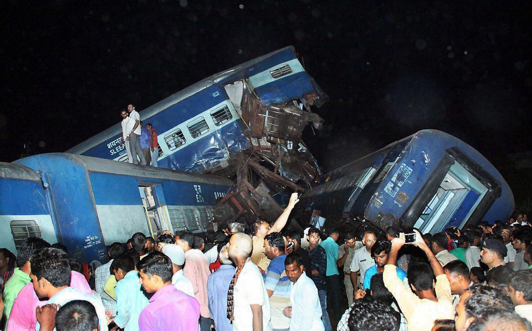 Muzaffarnagar: Coaches of the Puri-Haridwar Utkal Express train after it derailed in Khatauli near Muzaffarnagar on Saturday. At least four were killed and 15 to 20 people were said to be injured as per initial reports. PTI Photo (PTI8_19_2017_000159B)