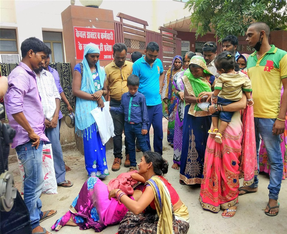 Gorakhpur : Women mourn the death of an infant outside the BRD Hospital in Gorakhpur on Wednesday.