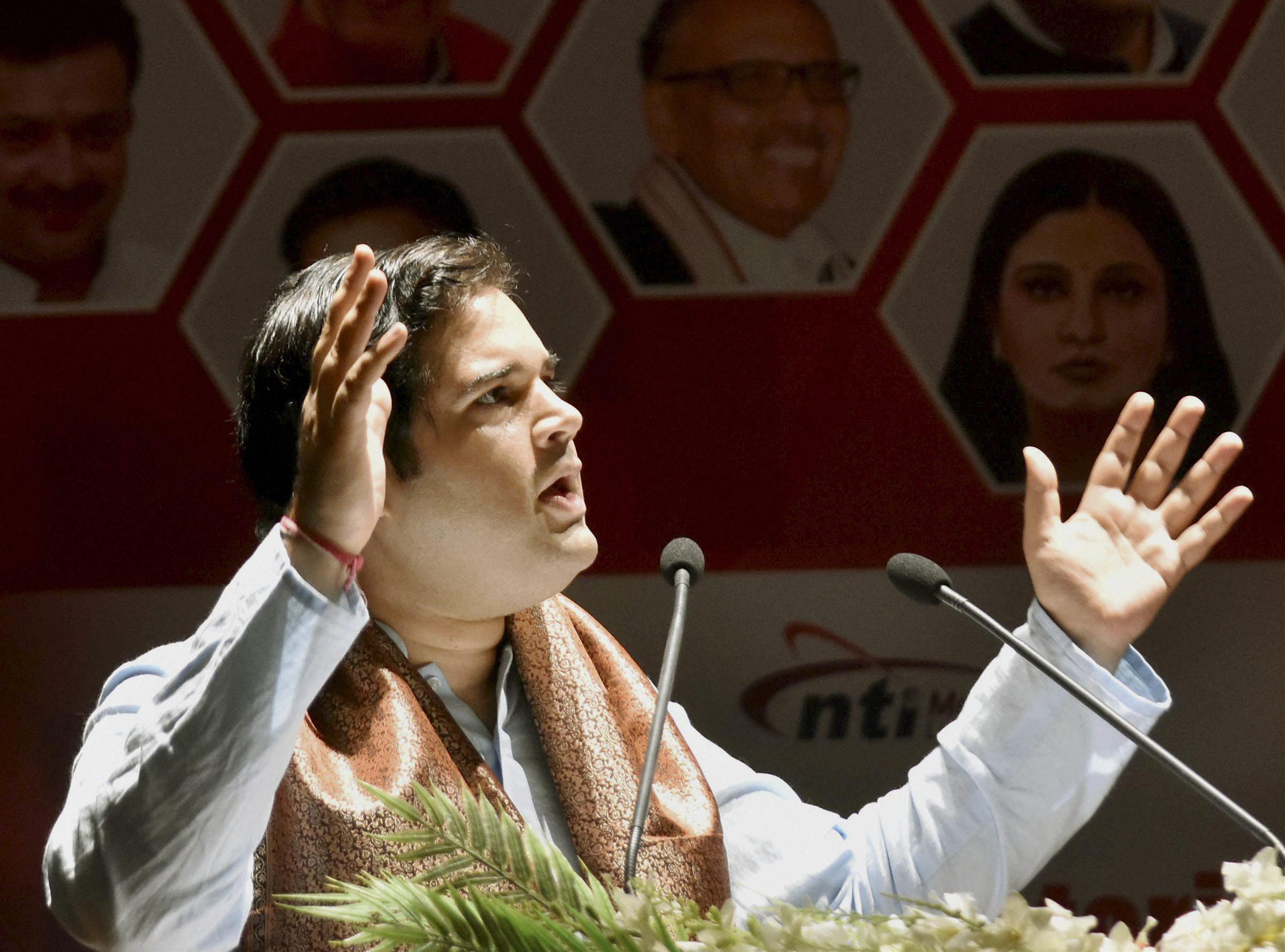 Patna: BJP MP Varun Gandhi speaking at the Parliamentarian Conclave at Gayan Bhawan in Patna on Saturday. PTI Photo(PTI9_9_2017_000080A)