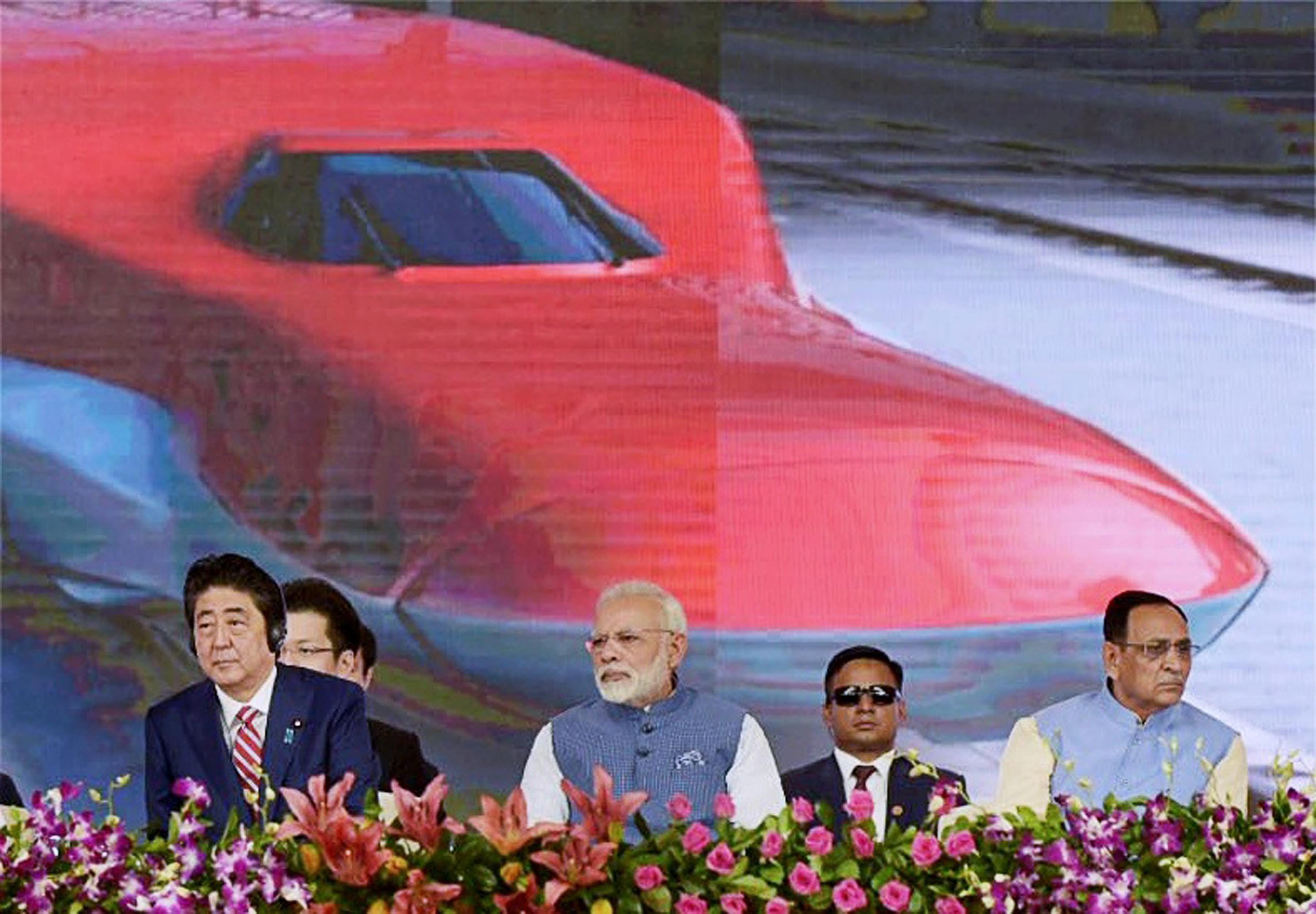 Ahmedabad : Prime Minister Narendra Modi and the Prime Minister of Japan, Shinzo Abe at Ground Breaking ceremony of Mumbai-Ahmedabad High Speed Rail Project, at Ahmedabad, Gujarat on Thursday.PTI Photo/pib (PTI9_14_2017_000040B) *** Local Caption ***