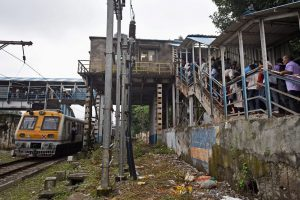 Mumbai: A view of the Elphinstone railway stations foot over bridge where a stampede took place, in Mumbai on Friday. PTI Photo by Shashank Parade (PTI9 29 2017 000133B)