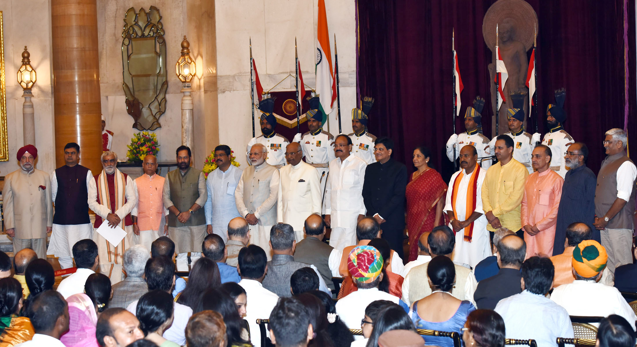 The President, Shri Ram Nath Kovind, the Vice President, Shri M. Venkaiah Naidu and the Prime Minister, Shri Narendra Modi with the newly inducted Ministers after a Swearing-in Ceremony, at Rashtrapati Bhavan, in New Delhi on September 03, 2017.