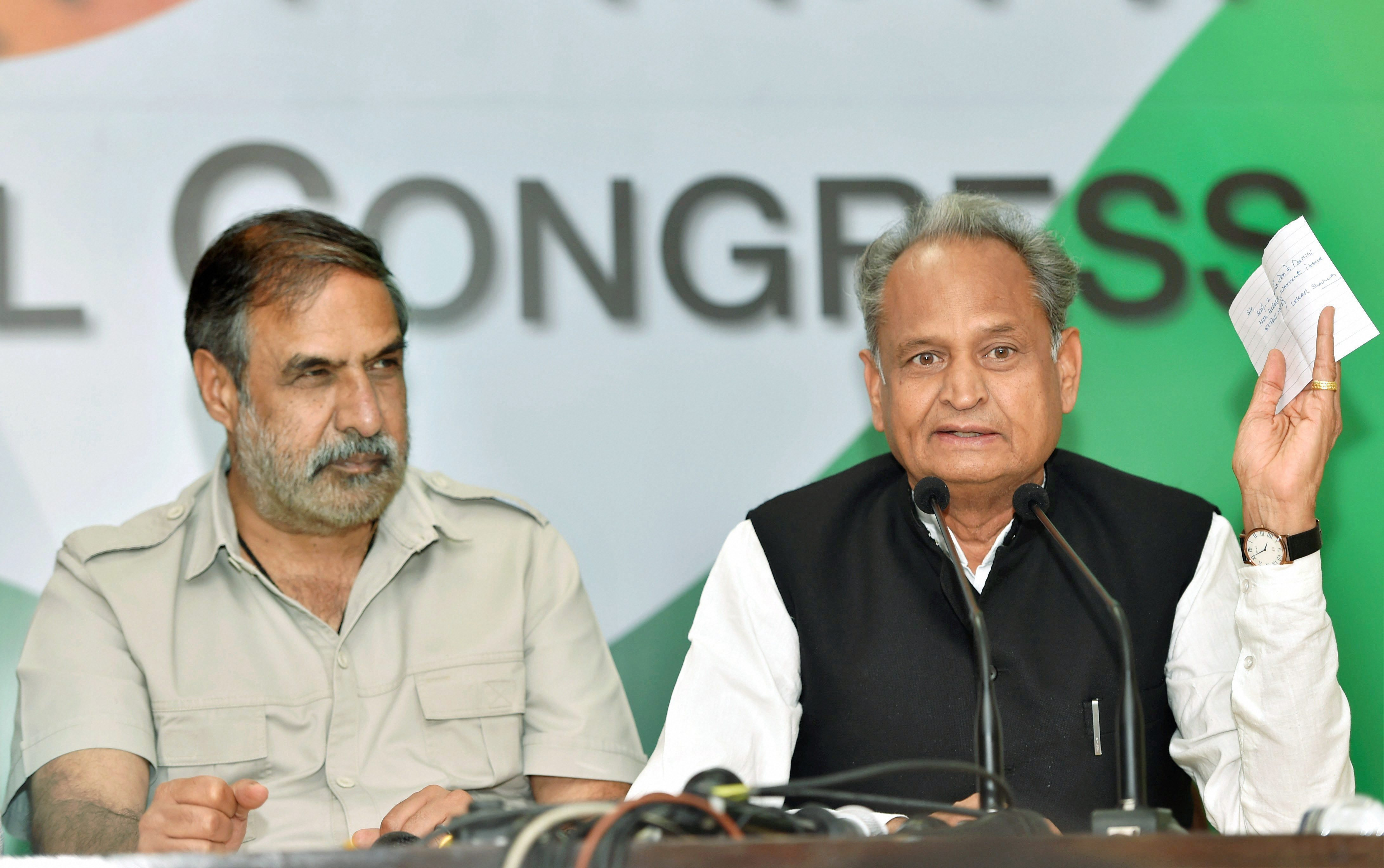 New Delhi : Senior Congress leader Anand Sharma and Ashok Gehlot , AICC general secretary in-charge of Gujarat during a press conference at AICC headquarters in New Delhi on Wednesday.PTI Photo by Subhav Shukla(PTI10_25_2017_000100A)