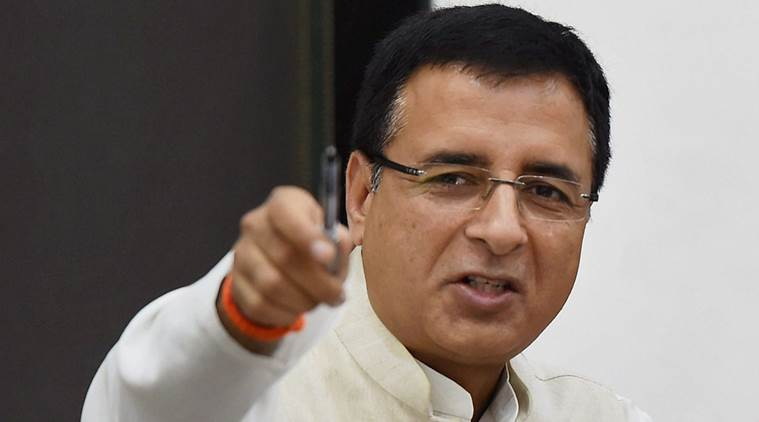 New Delhi : Presidential Candidate Meira Kumar and Congress office bearer Surjewala address a press conference in New Delhi on Tuesday. PTI Photo by Shirish Shete(PTI6_27_2017_000074B)