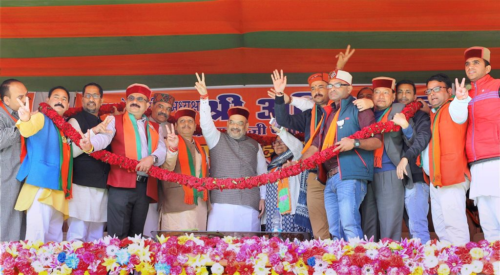 Chamba: BJP National President Amit Shah addressing a public meeting at Banikhet in Chamba district of Himachal Pradesh on Monday. PTI Photo