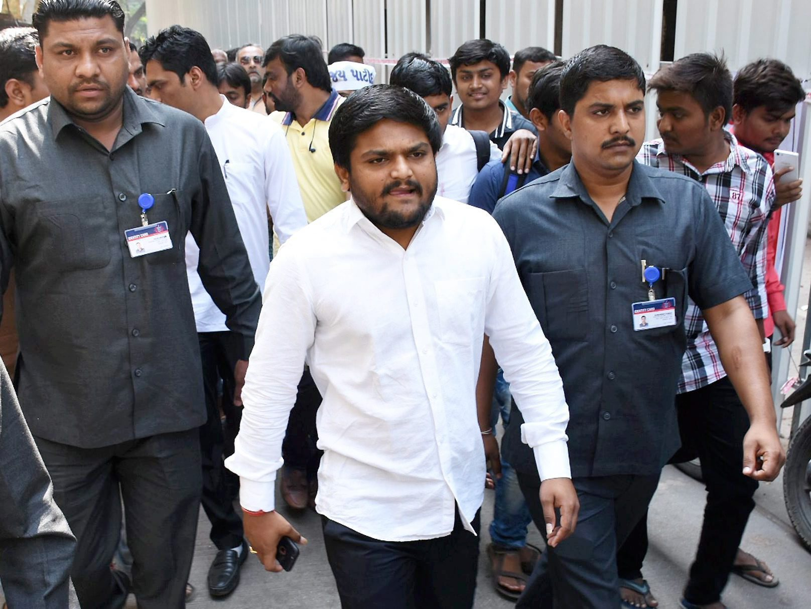 Surat: PAAS convener Hardik Patel as he arrives at a court, in Surat on Friday. PTI Photo(PTI11_3_2017_000195B)