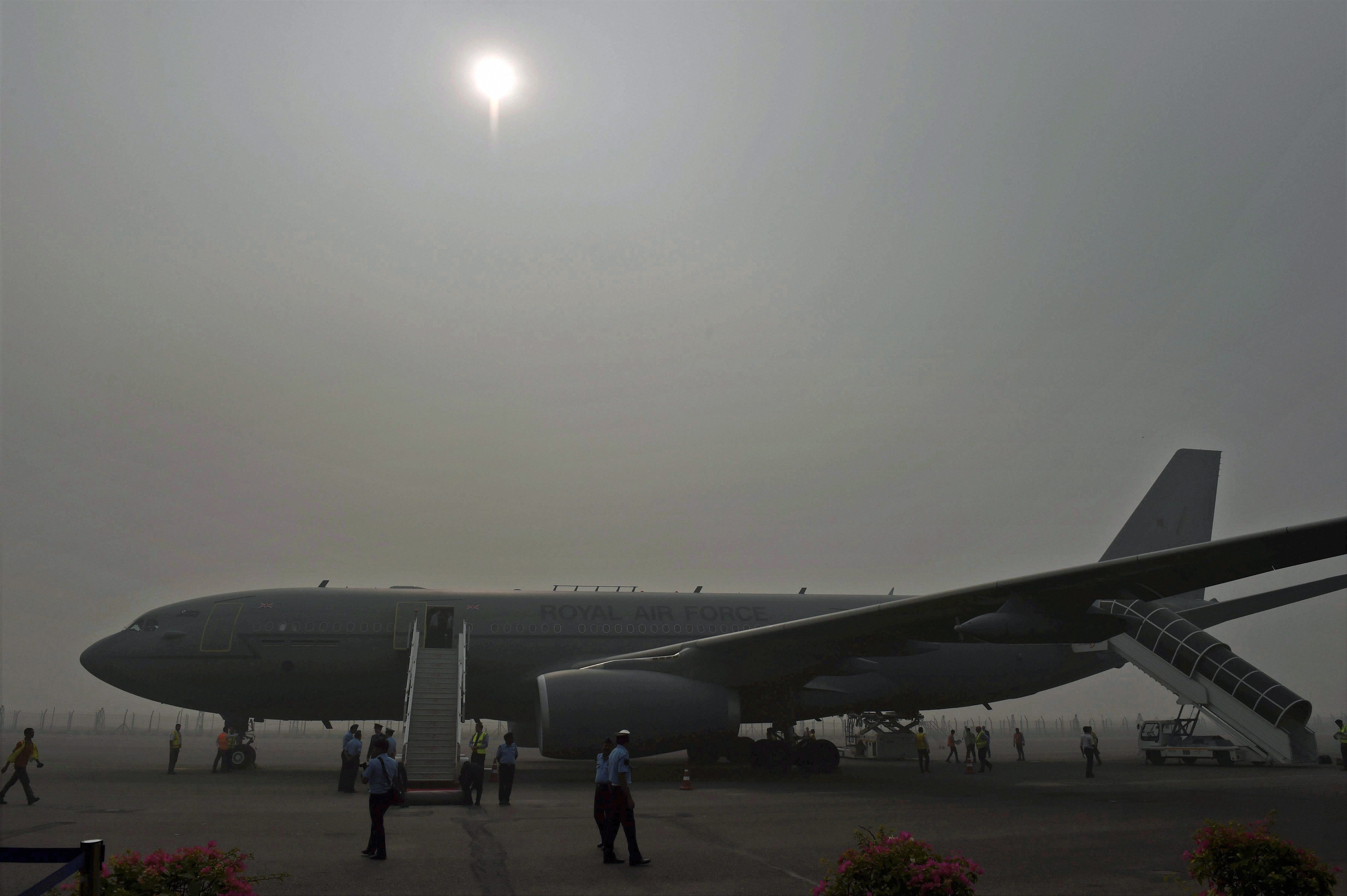 New Delhi: The aircraft of Britain's Prince Charles is surrounded by smog on arrival at Air Force Station Palam in New Delhi on Wednesday. PTI Photo by Manvender Vashist (PTI11_8_2017_000110A)