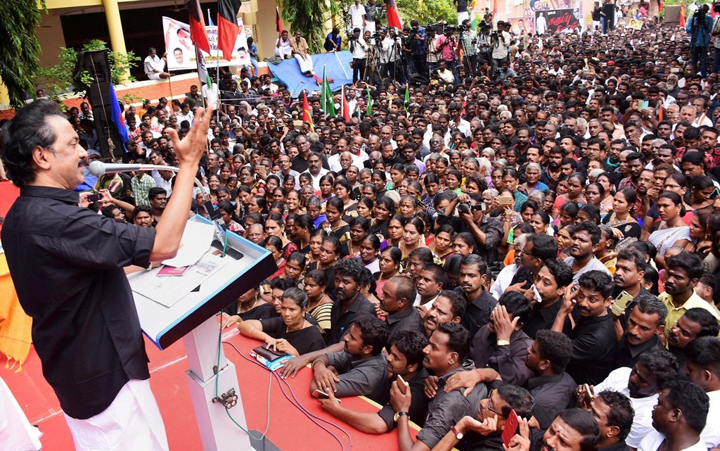Madurai : DMK working president MK Stalin addresses a protest rally on the occasion of the first anniversary of demonetisation at Anna Nagar in Madurai on Wednesday. PTI Photo (PTI11 8 2017 000140B)