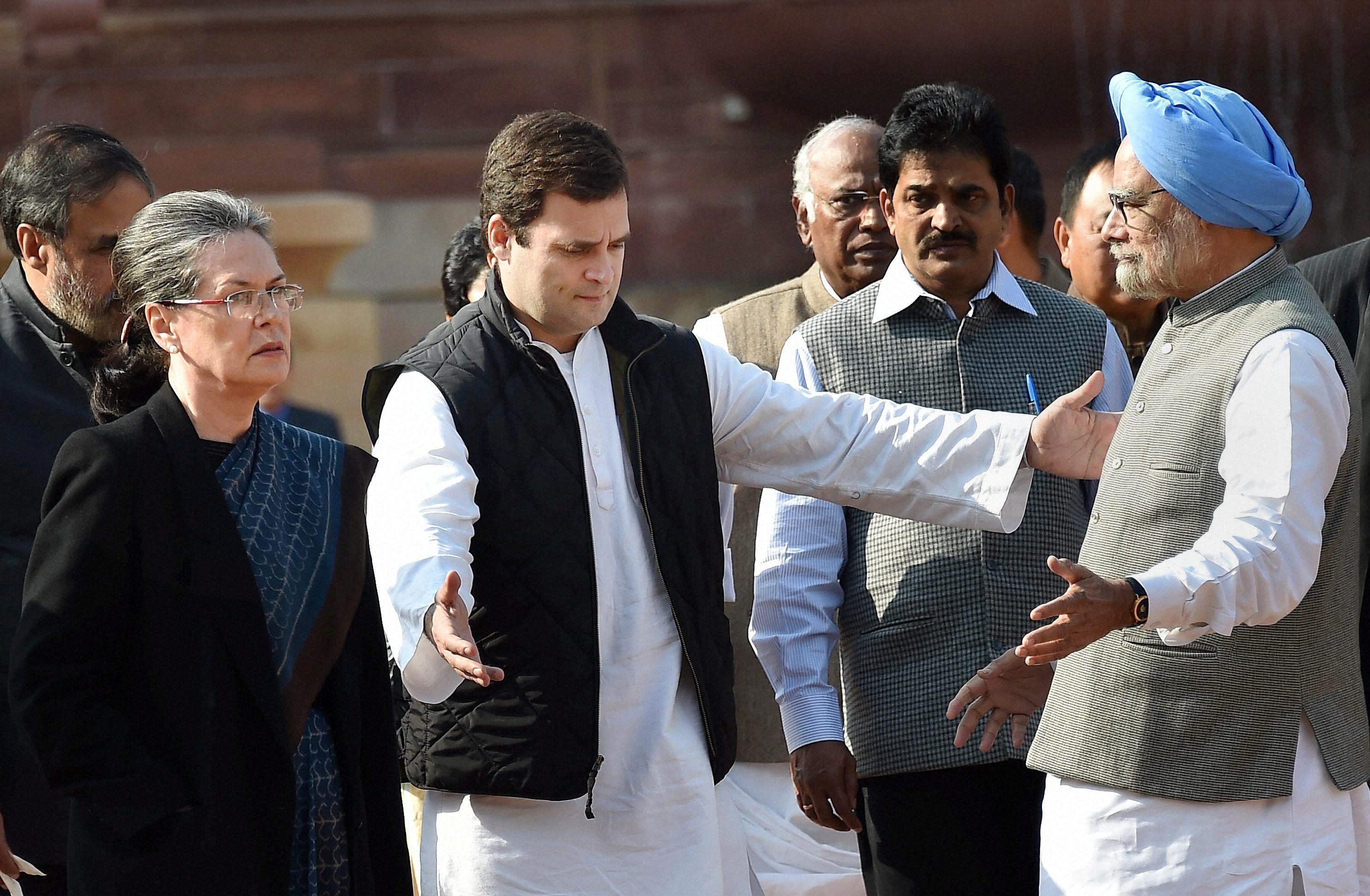 New Delhi: Congress President Sonia Gandhi with party Vice President Rahul Gandhi, former PM Manmohan Singh and other party leaders after meeting with President Pranab Mukherjee at Rashtrapati Bhavan in New Delhi on Wednesday. PTI Photo by Vijay Kumar Joshi (PTI12_16_2015_000065B)
