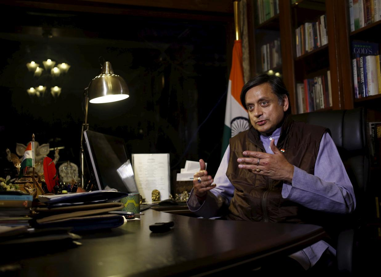 Shashi Tharoor, a member of parliament from India's main opposition Congress party, speaks during an interview with Thomson Reuters Foundation at his office in New Delhi, India, January 25, 2016.  REUTERS/Anindito Mukherjee
