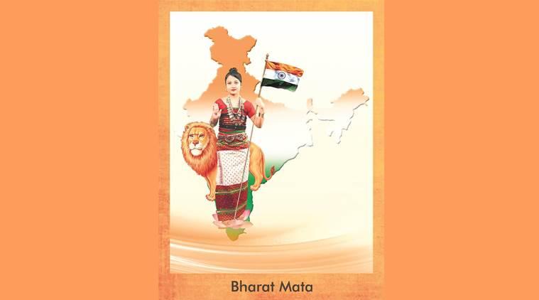 जनजातीय वेशभूषा में भारत माता की तस्वीर, (फोटो साभार: इंडियन एक्सप्रेस)