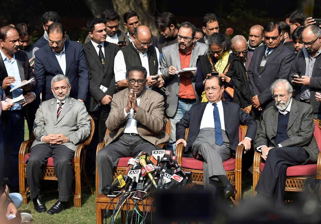 New Delhi: Supreme Court judge Jasti Chelameswar along with other judges addresses a press conference in New Delhi on Friday. PTI Photo by Ravi Choudhary (PTI1_12_2018_000030B)