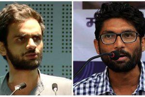 छात्रनेता उमर ख़ालिद और गुजरात से निर्दलीय विधायक और दलित नेता जिग्नेश मेवाणी. (फोटो: यूट्यूब/पीटीआई)