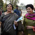 New Delhi: Congress leaders Renuka Chowdhury and Kumari Selja during the budget session of Parliament in New Delhi on Friday. PTI Photo by Kamal Singh(PTI2_9_2018_000061B)