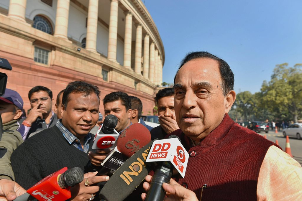 New Delhi: BJP MP Subramanian Swamy speaks to media during the ongoing budget-session iin New Delhi on Wednesday. PTI Photo by Kamal Kishore (PTI2_7_2018_000148B)