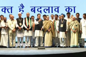 New Delhi: Congress president Rahul Gandhi with steering committee members during the second day of the 84th Plenary Session of Indian National Congress (INC), at Indira Gandhi stadium in New Delhi on Sunday. PTI Photo by Vijay Verma (PTI3_18_2018_000164B)