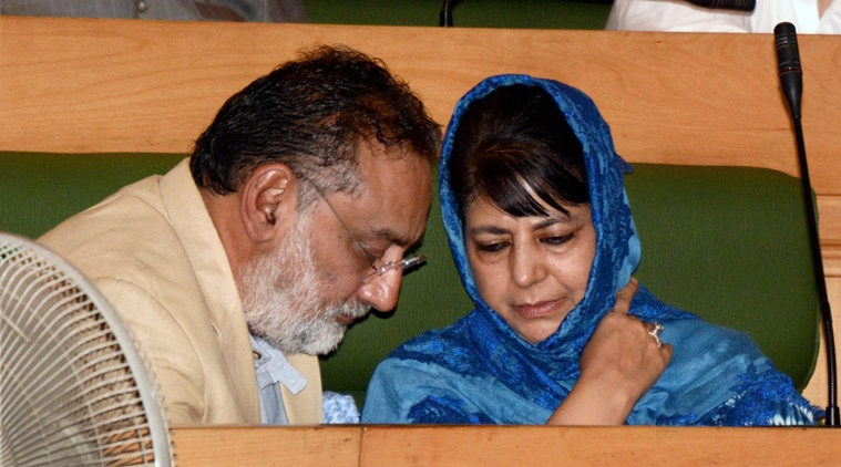 Srinagar: Chief Minister of Jammu and Kashmir Mehbooba Mufti with Finance Minister Haseeb Drabu during the Special Session of Legislative Assembly called to pass the Goods and Services Tax (GST) bill, in Srinagar on Wednesday. PTI Photo(PTI7_5_2017_000070A)