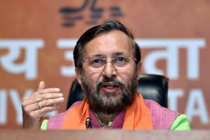 New Delhi: HRD Minister Prakash Javadekar speaks during a press conference at BJP Headquarter in New Delhi, on Friday. PTI Photo by Manvender Vashist(PTI3_23_2018_000241B)