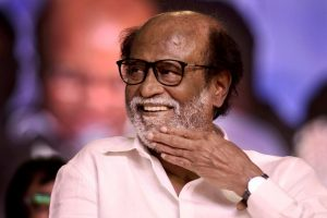 Chennai: Tamil actor Rajinikanth gestures at an event where he unveiled a statue of former Tamil Nadu Chief Minister MG Ramachandran at Dr MGR Educational and Research Institute in Chennai on Monday. PTI Photo (PTI3_6_2018_000013B)