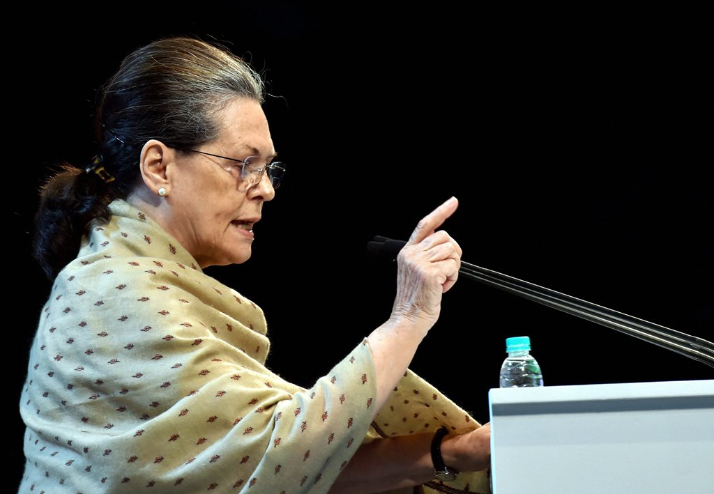 New Delhi: Chairperson CPP Sonia Gandhi gestures as she delivers a speech during the 84th Plenary Session of Indian National Congress (INC) at Indira Gandhi Stadium in New Delhi on Saturday. PTI Photo by Manvender Vashist (PTI3_17_2018_000092B)