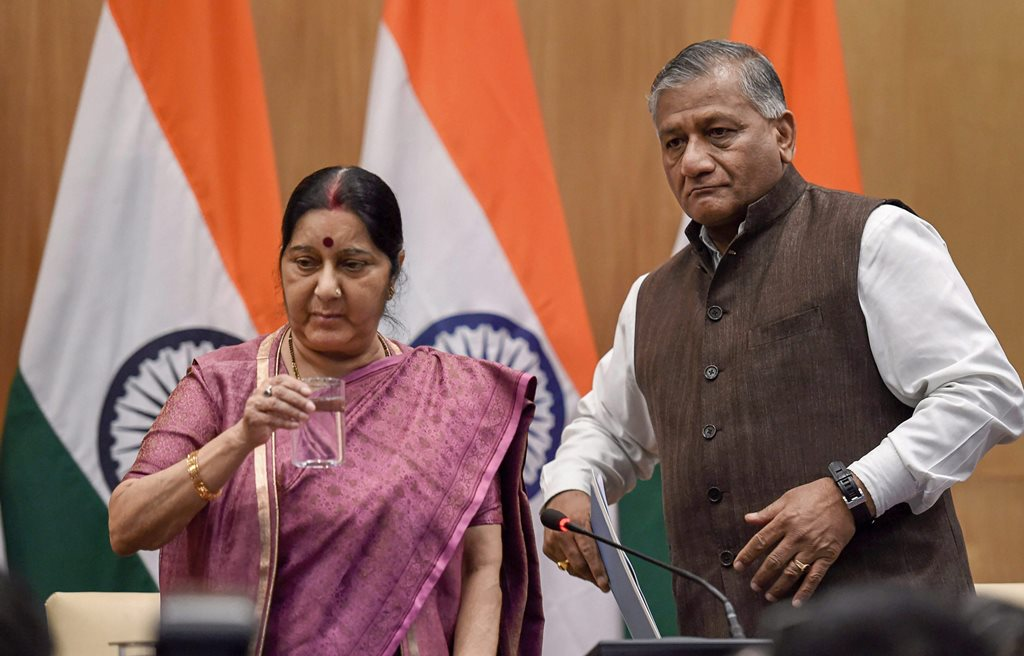 EDS PLS TAKE NOTE OF THIS PTI PICK OF THE DAY:::::::: New Delhi : External Affairs Minister Sushma Swaraj with MoS for External Affairs VK Singh after a press conference over the death of 39 Indians who were kidnapped in Iraq, in New Delhi on Tuesday. PTI Photo by Subhav Shukla (PTI3_20_2018_000146A)(PTI3_20_2018_000165B)