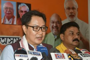 Guwahati: Union Minister of State for Home Affairs Kiren Rijiju addressing a press conference in Guwahati on Saturday. Assam state BJP president Ranjit Das is also seen. PTI Photo (PTI4_7_2018_000050B)
