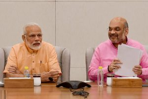 New Delhi: Prime Minister Narendra Modi and BJP President Amit Shah during BJP Election committee meeting at BJP Headquarters in New Delhi on Sunday. PTI Photo by Vijay Verma (PTI4_8_2018_000160B)