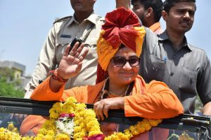 Surat: Sadhvi Pragya Singh Thakur during a roadshow at an event in Surat on Tuesday. PTI Photo(PTI4_24_2018_000059B)